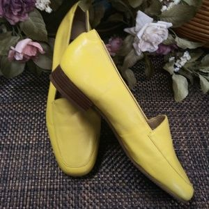 Yellow Kid Leather Loafers sz 7 B New Made Brazil